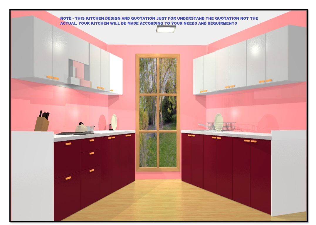 9 X 9– 9 Off Parallel Modular Kitchen in Marine Plywood with Wall  Cabinet Storage & SS Basket Trolley